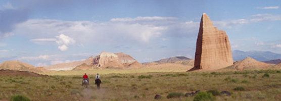 Horseback riding in Cathedral Valley