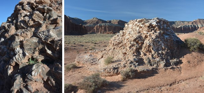 Two photos: Close up of gray and white shiny rocks, and photo of small shiny hill in a red valley.