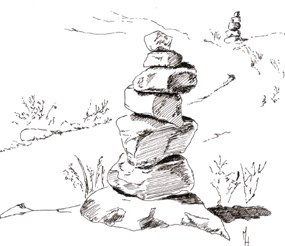 Artists image of a rock cairn. You will find many hiking trails marked with rock cairns.  Locating cairns may be difficult at first; look for rock piles or stacks.  PLEASE DO NOT BUILD NEW CAIRNS!