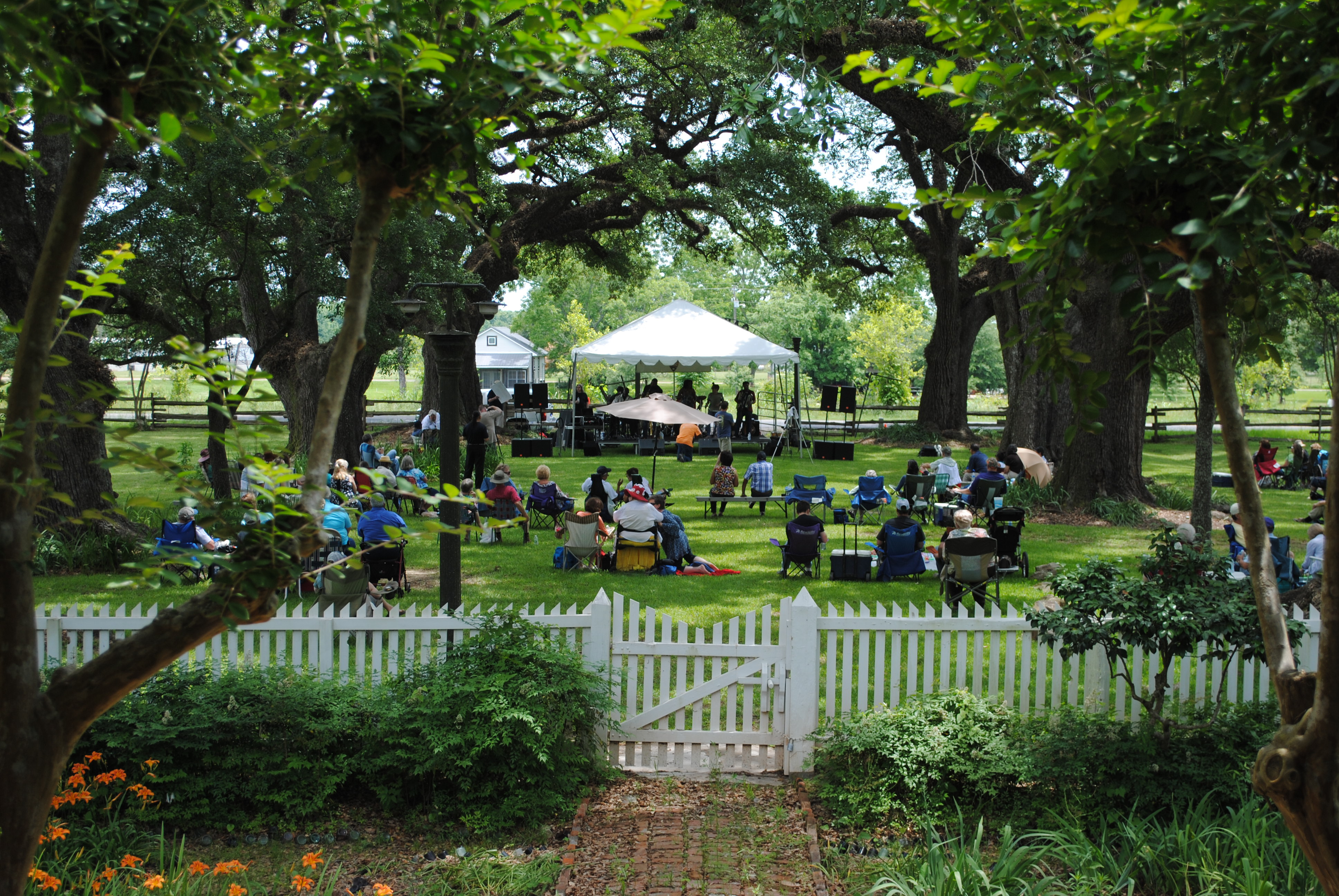 Visitors enjoy music at the annual Cane River Music  Festival under the shade of the oak alley.