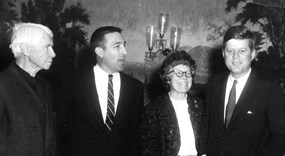 Helga with her father, Stewart Udall, and President Kennedy (left to right).