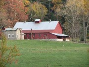 View of barn from pasture