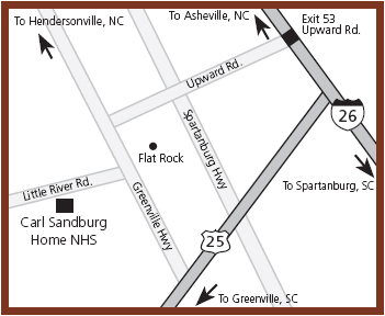 Map to Carl Sandburg Home NHS