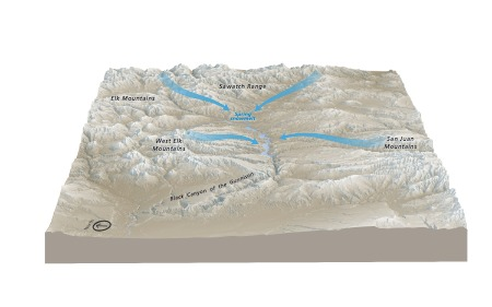 Hydro Map Of The Gunnison River - July 2018 Adobe Illustrator print production file