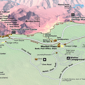 South Rim Grand Canyon Village Detail Map - From park brochure