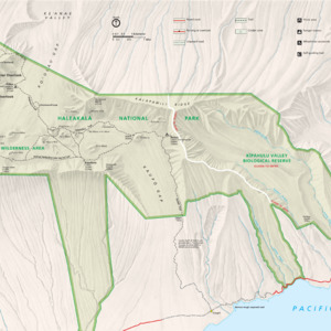 Park Map - From park brochure. Note: The National Park Service uses a proprietary font for labeling Hawaiian maps that is not released publicly. Due to font substitution, diacritical marks do not appear on downloaded maps. Check printed National Park Service maps fo