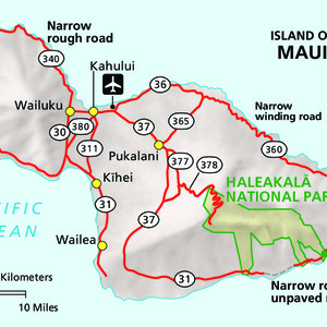 Maui Island Area Map - From park brochure. Note: The National Park Service uses a proprietary font for labeling Hawaiian maps that is not released publicly. Due to font substitution, diacritical marks do not appear on downloaded maps. Check printed National Park Service maps fo