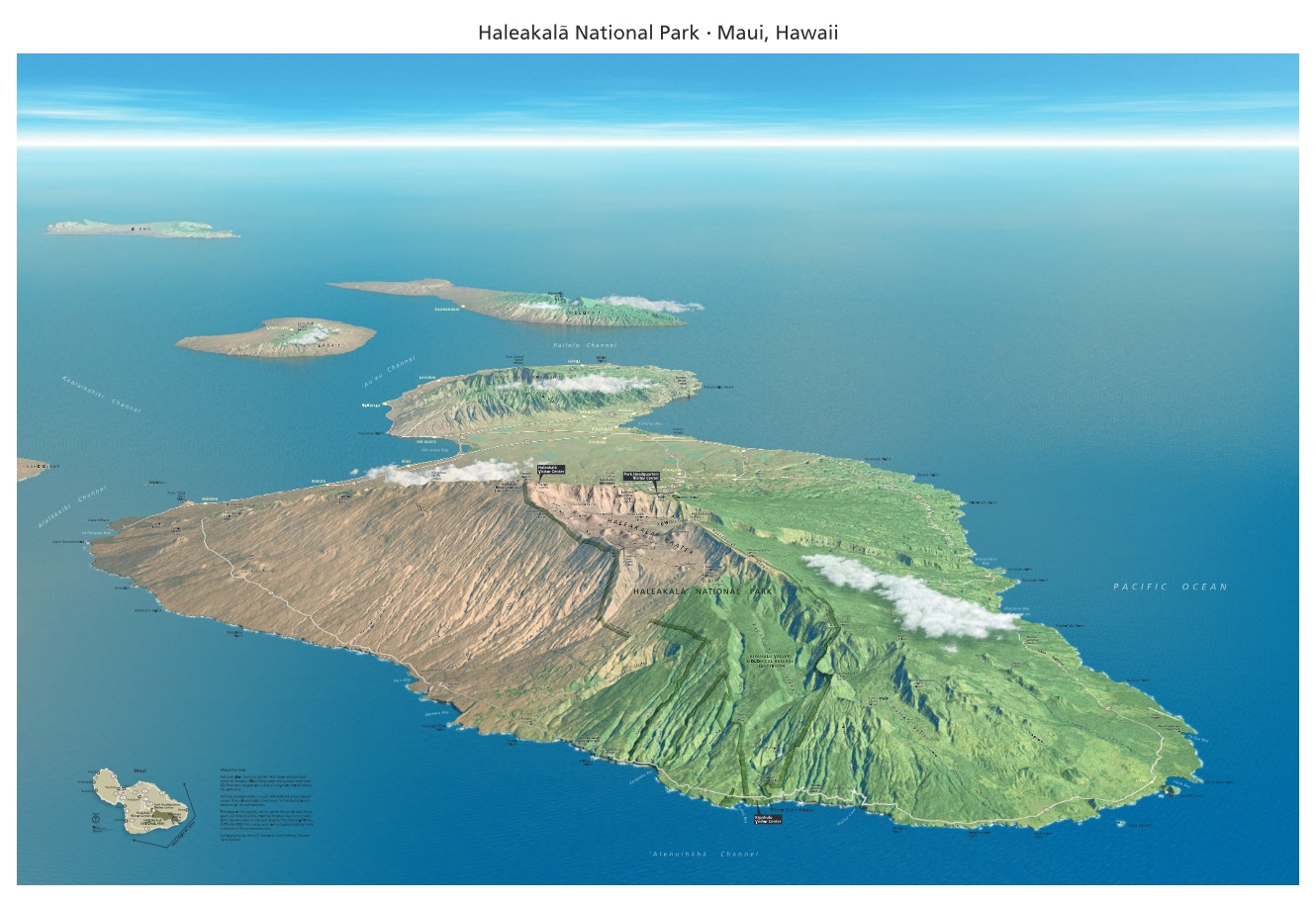Haleakala Panorama (view From Southeast) - From park brochure