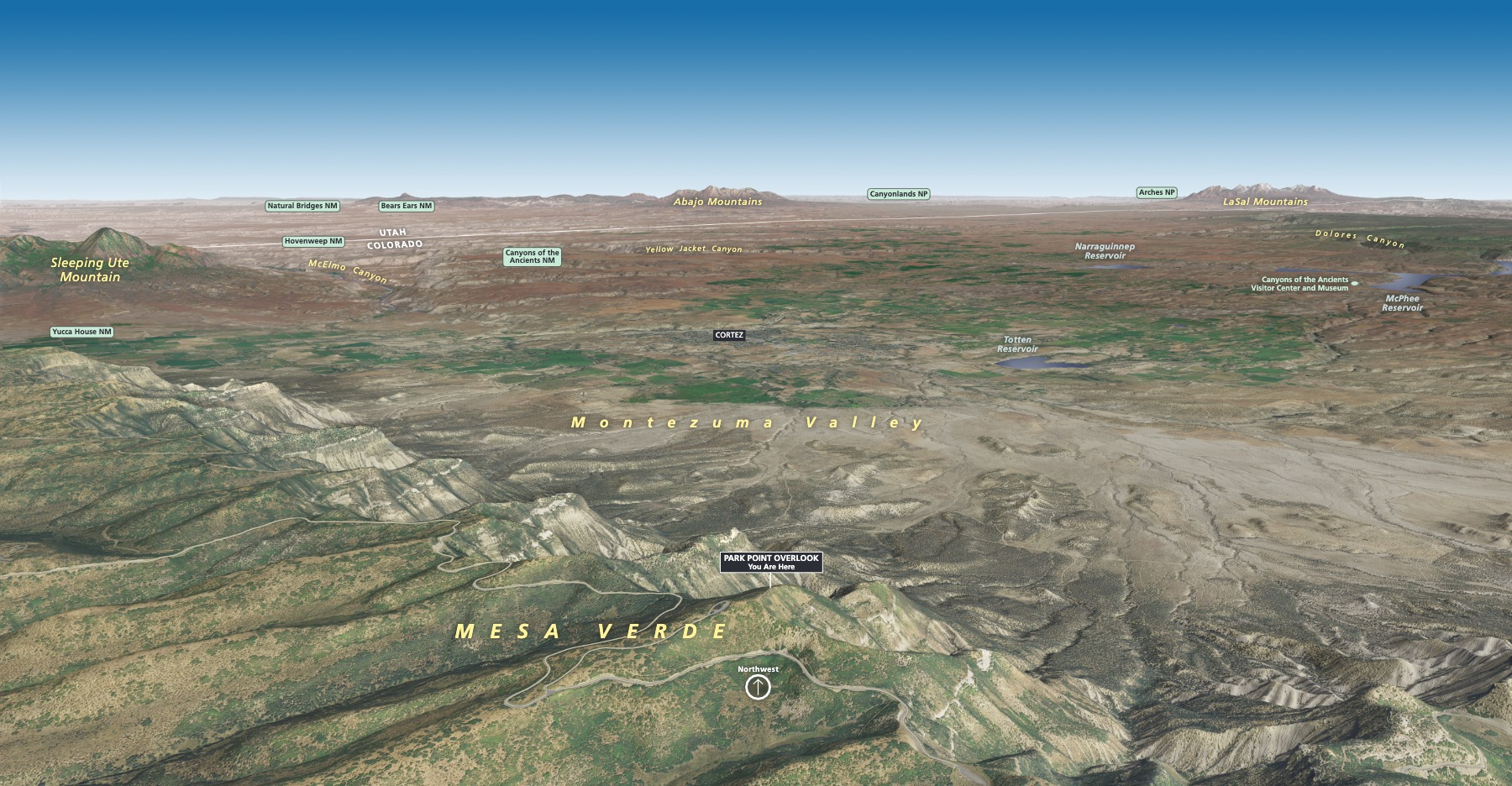 3D Panorama Map - Northwest View - From park wayside exhibit