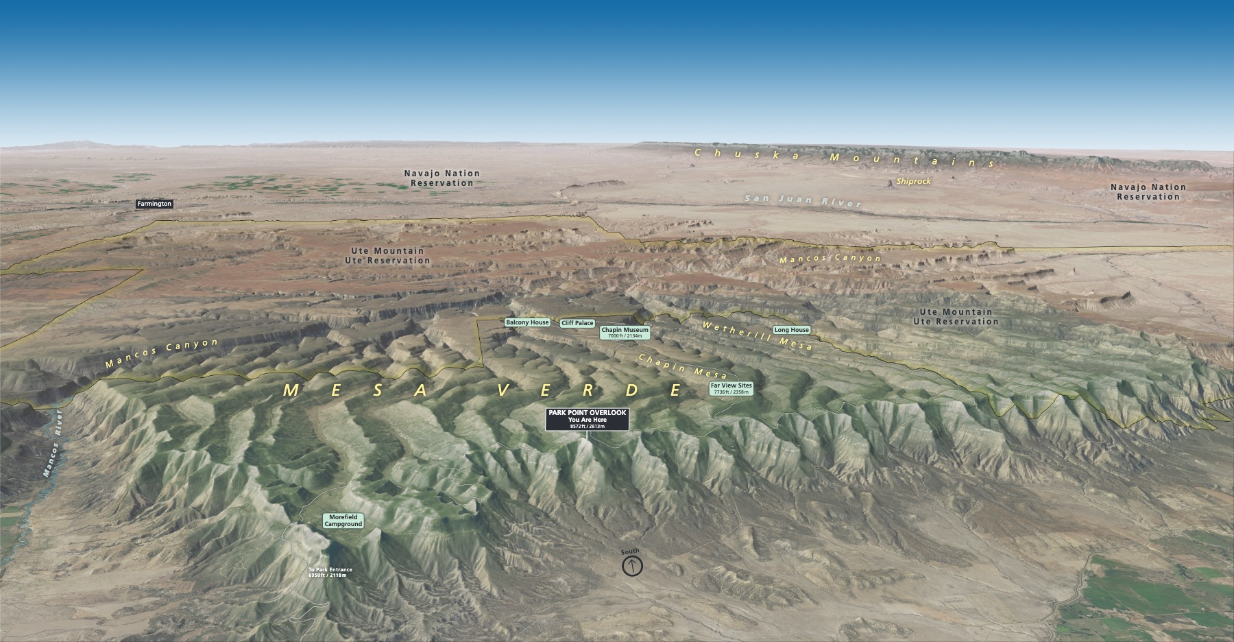 3D Panorama Map - South View - From park wayside exhibit