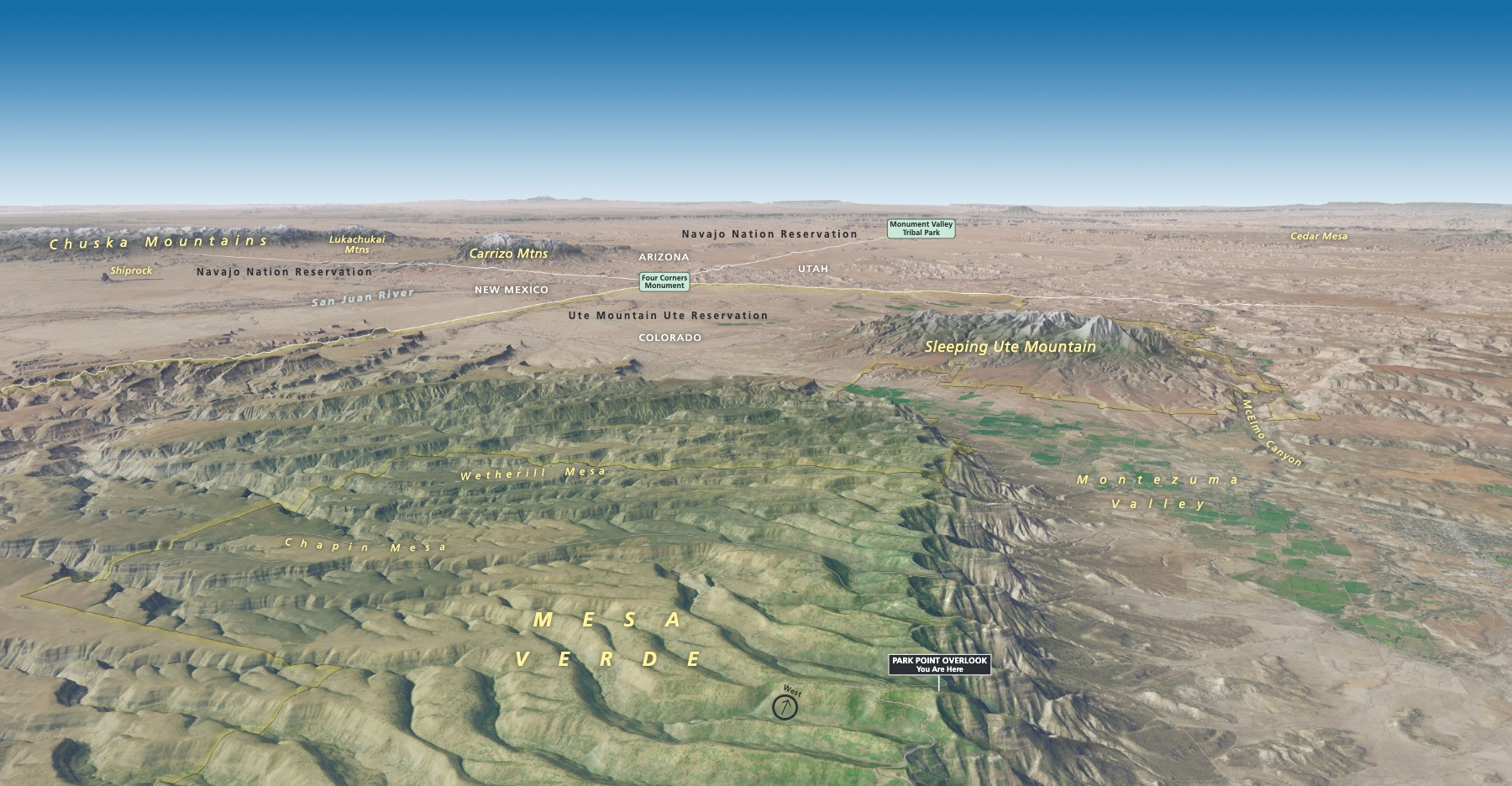 3D Panorama Map - West View - From park wayside exhibit