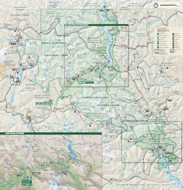 Park Map - North Cascades National Park. Lake Chelan National Recreation Area and Ross Lake National Recreation Area appear on the map for North Cascades National Park