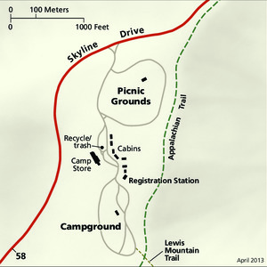 Lewis Mountain Detail Map - From park brochure