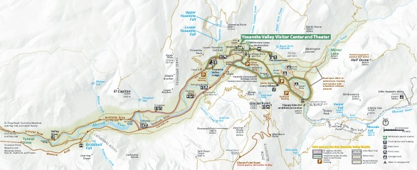Yosemite Valley Detail Map - From park brochure