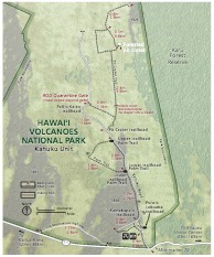 Kahuku Map - Hawai'i Volcanoes National Park. Note: The National Park Service uses a proprietary font for labeling Hawaiian maps that is not released publicly. Due to font substitution, diacritical marks do not appear on downloaded maps. Check printed National P