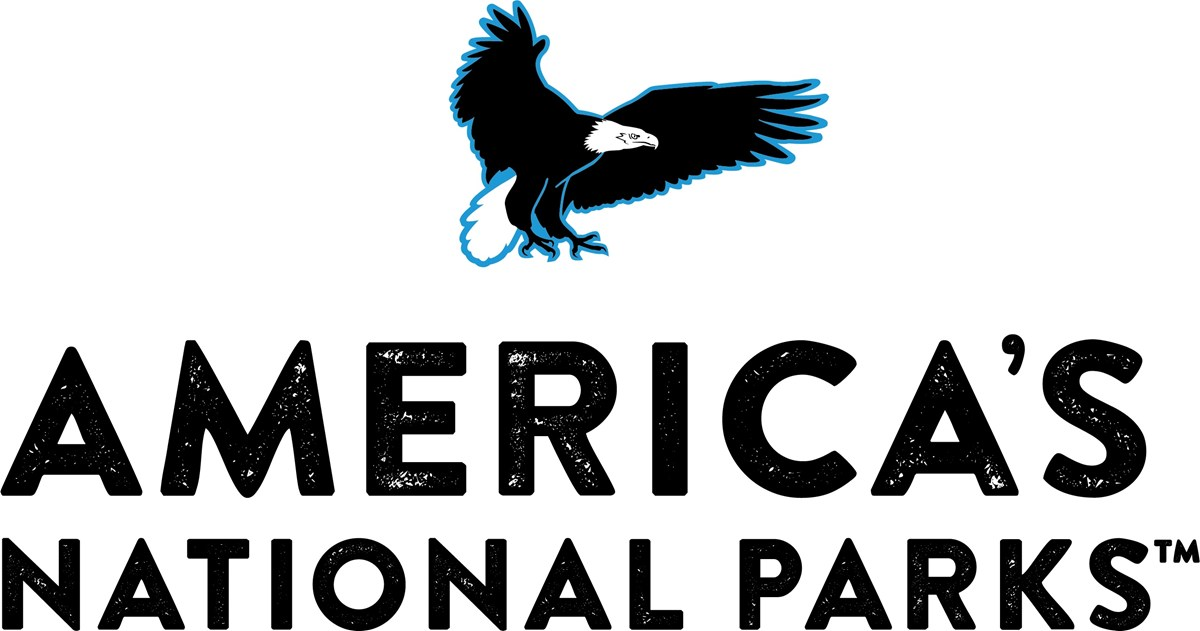 logo for America's National Parks store, eagle flying over text