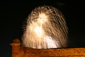 Fireworks bloom over the Fort during a Fourth of July celebration