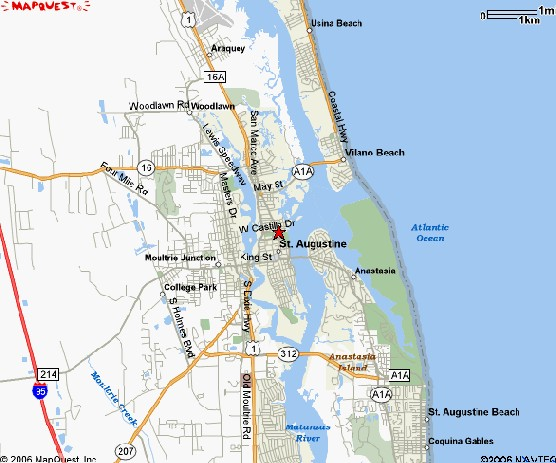 Mapquest map of St Augustine and vicinity
