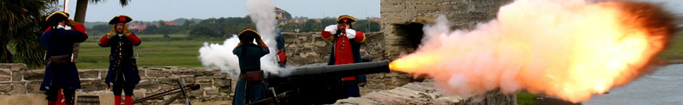 Cannon firing on the gundeck of the Castillo de San Marcos