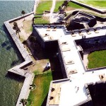 Aerial view of the east side of the Castillo de San Marcos