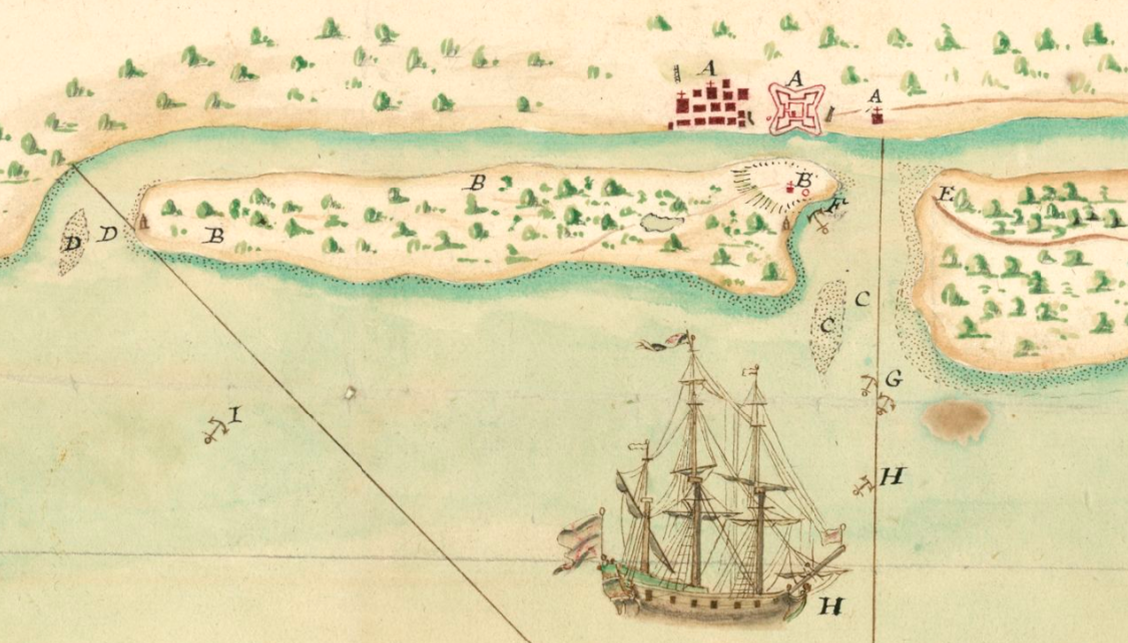 A simple map of St. Augustine and Anastasia Island, drawn in 1702.