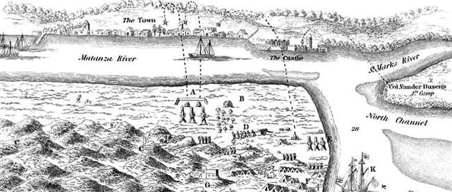 A British map showing Oglethorpe's position and the bombardment of Castillo.