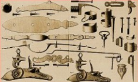Various parts of the flintlock mechanism; 1752 Spanish Fusile