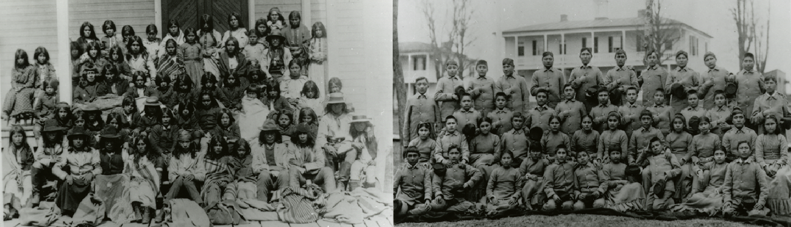 At left, Apache youth in traditional clothing. At right, Apache youth in military uniforms.