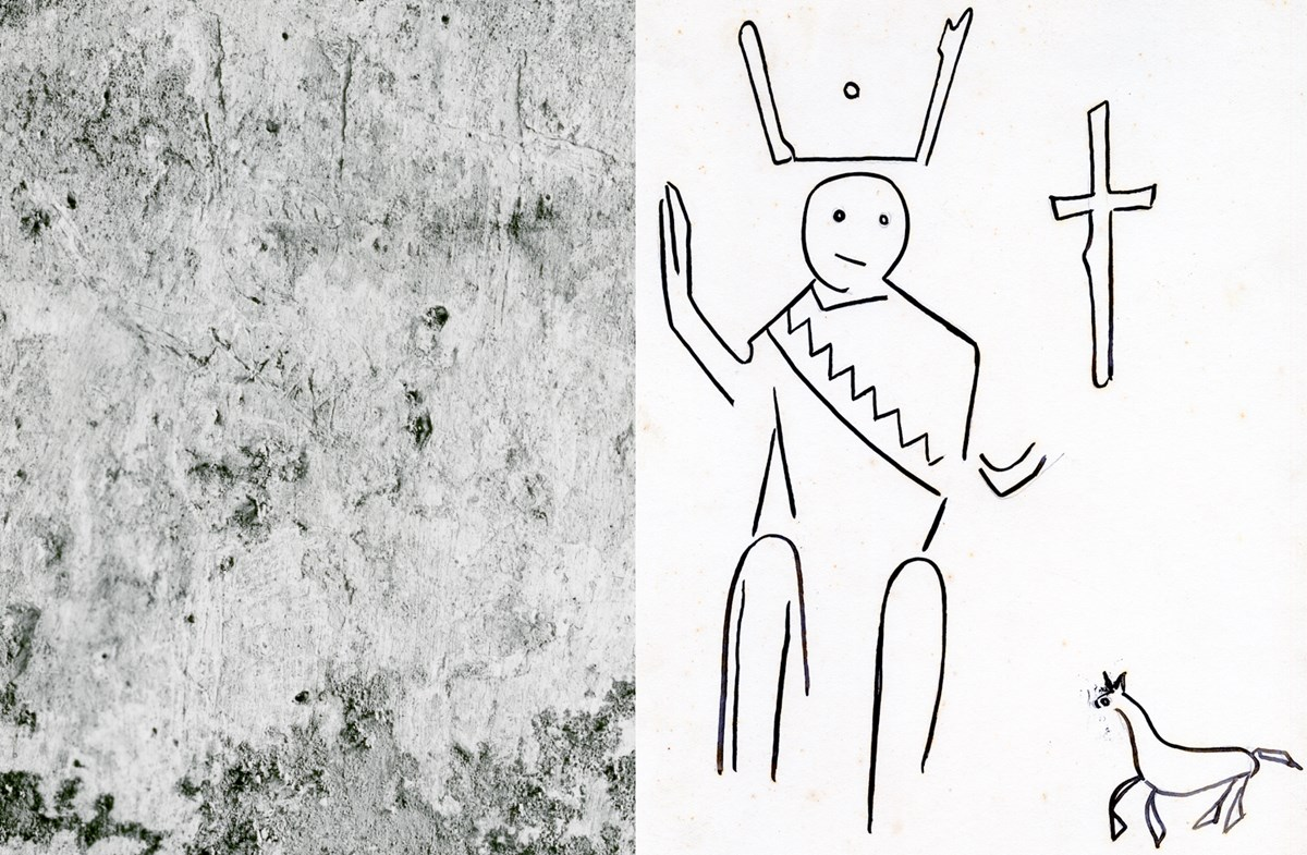 A photograph of Apache Fire Dancer graffiti on wall, next to a sketch of the dancer.