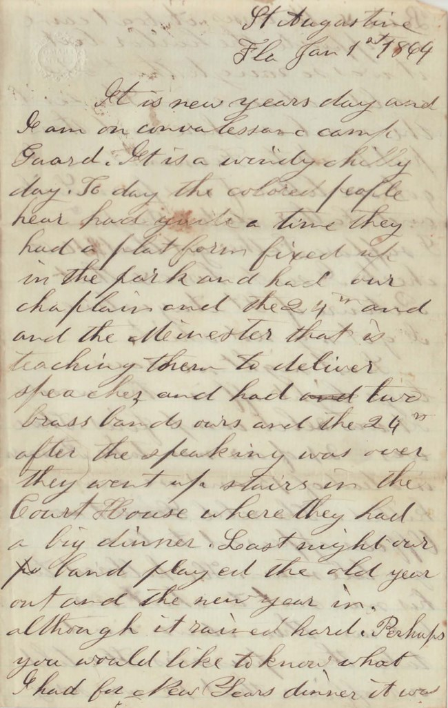 Sepia toned handwritten letter from Elias Peck dated January 1st 1864