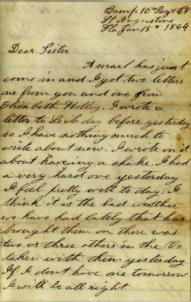 Handwritten Elias Peck letter dated 15 January 1864