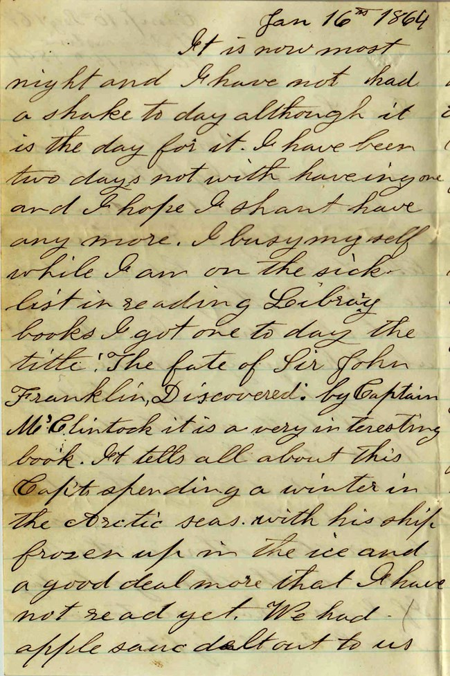 Handwritten Elias Peck Letter January 16 1864