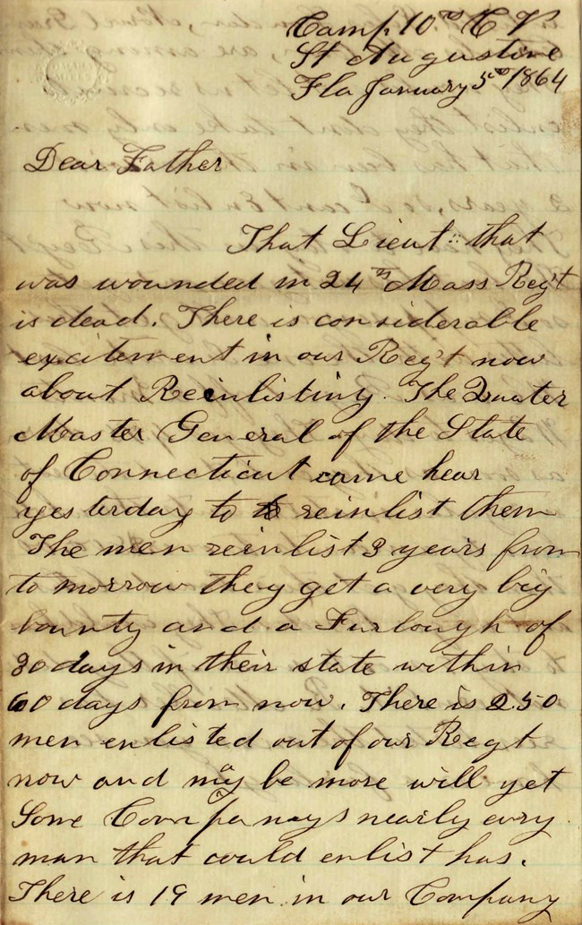 Handwritten letter by Elias Peck January 5th 1864