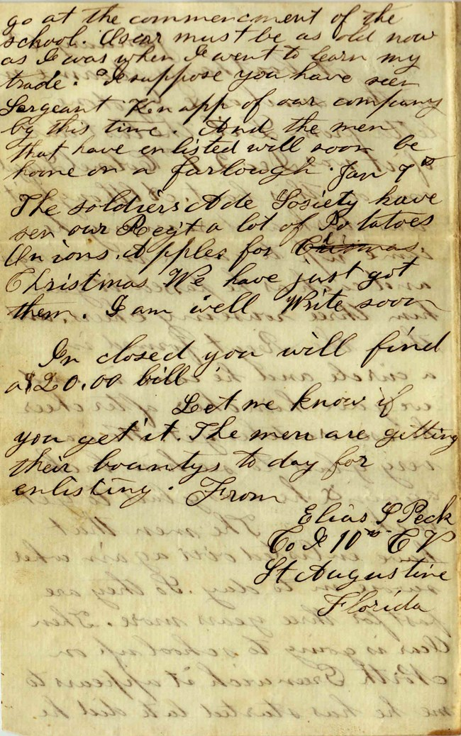 Handwritten letter by Elias Peck on 6th of January of 1864