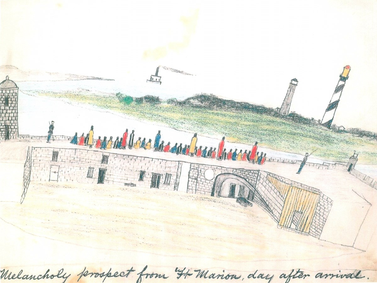 A drawing of Plains Indian prisoners on the Castillo's gundeck, looking towards the water.