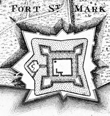1770's view of the Castillo de San Marcos' star shaped bastions.