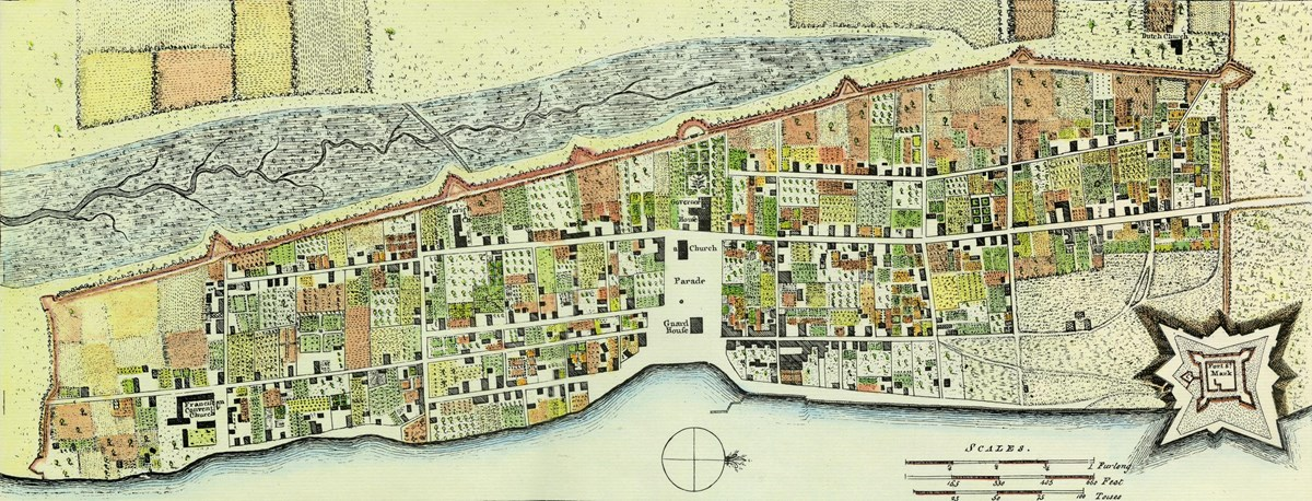 A map drawn during the British period shows the city's layout.