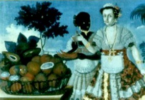 A slave and her mistress purchase fruit, from a period colonial painting.