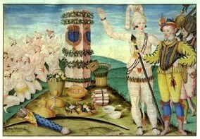 Timucua Indians worship the pillar and coat of arms set up by French settlers at Fort Caroline
