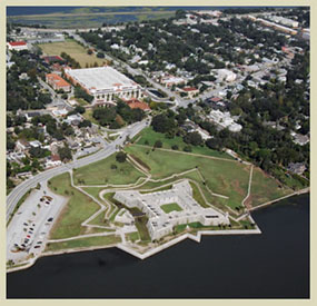 Aerial viw of the Castillo de San Marcos and downtown St Augustine.