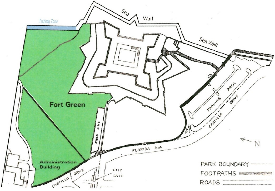 top down park map top left showing section along northeast wall designated fishing zone, a large green area labled Fort Green extends from that fishing zone west, along the edge of the covered way wall along the cubo line to the western sidewalk