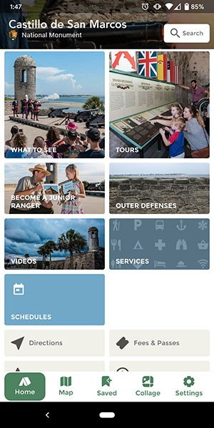 Screen shot of Castillo Park App home page.
