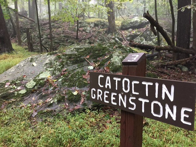 Catoctin Greenstone sign located next to greenstone boulder