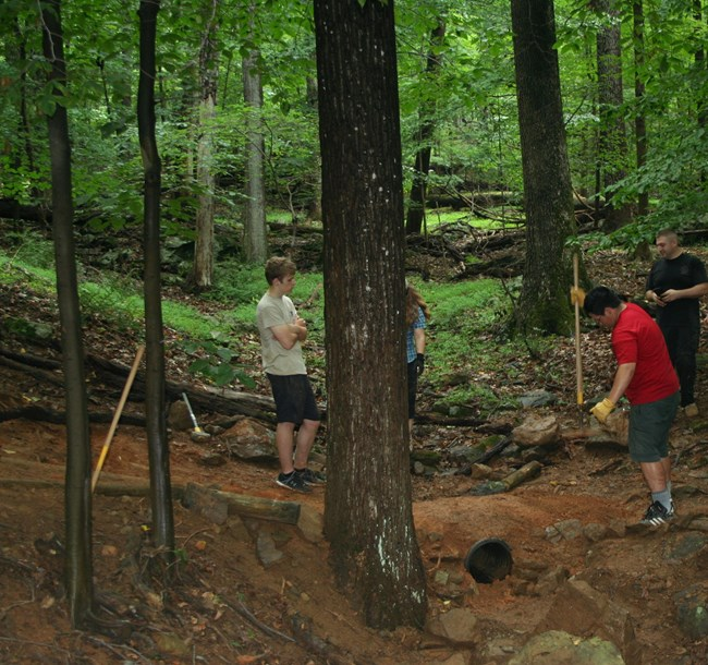 Scouts working on trail repair