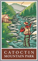 Catoctin Mountain Park Logo - A person fly-fishing with the mountain and a cabin in the distance.