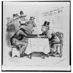 Cartoon of Uncle Sam and diplomat negotiating across a table