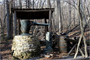 The current whiskey still on the site of the original Blue Blazes Whiskey still.