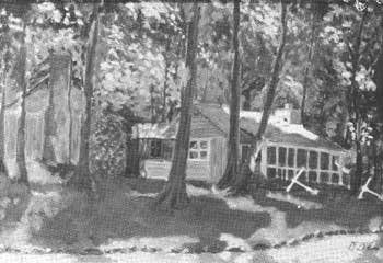 Eisenhower's painting of a cabin at Camp David