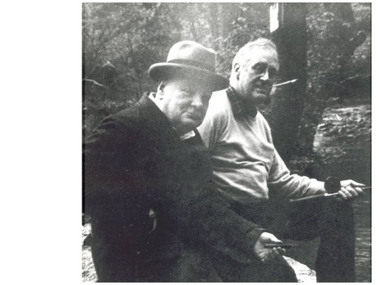 Roosevelt and Churchill fishing