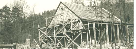 The Blue Blazes contact station under construction in 1941 is currently the park Visitor Center